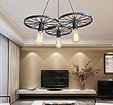 Las lámparas colgantes Lámpara de techo lámpara de araña Antique Rueda Industrial Retro negro,E27*311