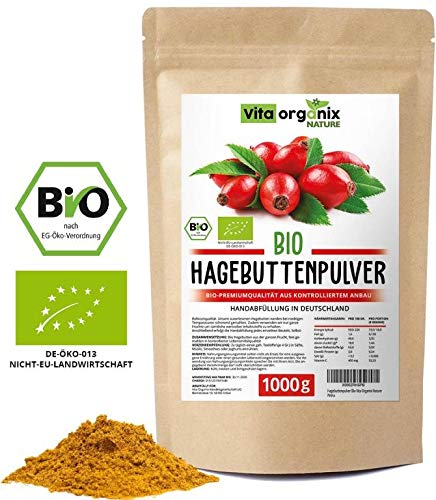 Preisvergleich Produktbild Hagebuttenpulver Bio 1kg Bio Hagebuttenpulver / Ganze gemahlene Hagebutte / Hagebuttenpulver aus kontrolliertem Anbau / Rohkostqualität / Kontrolliert und abgefüllt in Deutschland