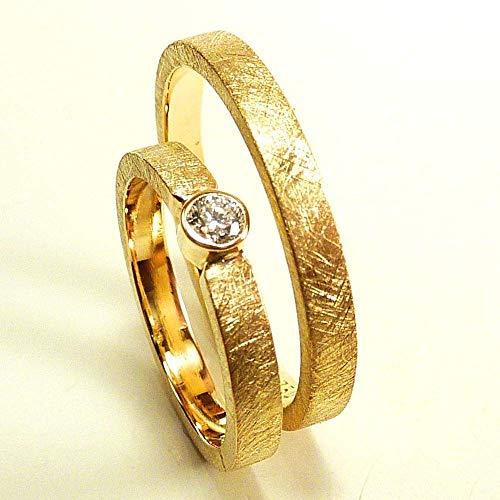 Eheringe SET Diamant Gelbgold 750 18 Karat mit Gravur, Trauringe, Hochzeitsringe, klassisch