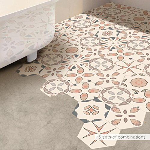 Pvc-decken-fliesen (erthome 10Pcs/set Selbstklebende Fliesen Boden Wandkunst Aufkleber Aufkleber DIY Küche Badezimmer Dekor Wasserdicht (D, 20 x 23 cm))