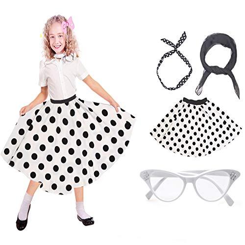 Beelittle 50er Jahre Kostüm Zubehör Set Mädchen Vintage Polka Dot Rock Schal Stirnband/Bobby Socken Cat Eye Brille 50er Jahre Kind Kostüm (A-White)