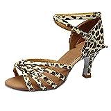 VJGOAL Damen Tanzschuhe, Frau Mädchen Mode Latin Dance Schuhe Med Heels Satin Schuhe Party Tango Salsa Tanzen Schuhe Brautschuhe(Braun,39)