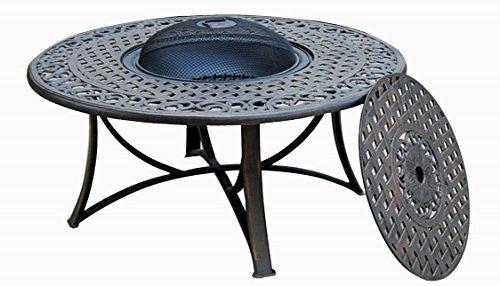 Table de jardin basse ronde MOOREA aspect fer forgé (noir)