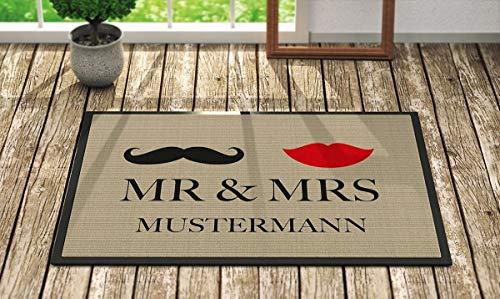 Fußmatte 'Mr. & Mrs. ' Inkl. Ihrem Nachnamen - Personalisierte Schmutzfangmatte, Fußmatte:50 x 70...