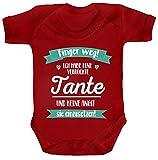 ShirtStreet Lustige Geschenkidee Strampler Bio Baumwoll Baby Body kurzarm Ich habe eine verrückte Tante, Größe: 12-18 Monate,Red