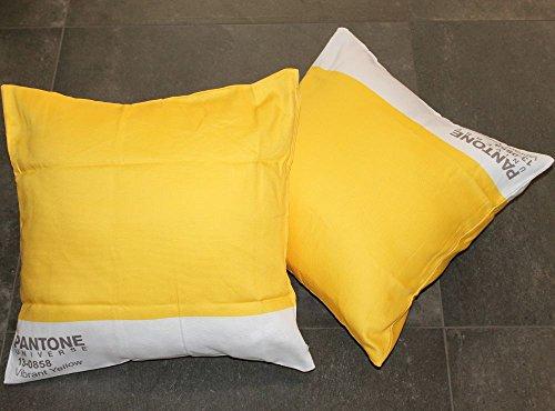 Copri cuscino arredo pantone by bassetti 13 0858 vibrant yellow giallo cm 40 x 40 sfoderabile - Copricuscini divano bassetti ...