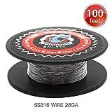 100 Feet Vapethink SS316 Wire 28GA Fil de Chauffage Résistance Coil Round,30 Mètre