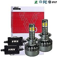 FMS 2 * H7 LED Faro Bombillas LED Coche Kit, Moto Alquiler de Luces del 6000K Korean Seoul LED Chips IP67 40W 4800LM luz Bombilla Blanca (H7)