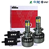 FMS H7 LED Lampadine del Faro Kit 6000K Bianco H7 Faro Bulbi Auto 9600LM Super Luminosa Lampada con Korean Seoul LED Chips Farettto per Auto Faro Della Luce Delle Lampadine dell'automobile Kit LED IP67 12-24V DC Conversion Kit Accessore
