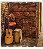 Abakuhaus Duschvorhang, Gitarre Verstärker und Hut Eine Straßen Musikanten Ecke Holz Steinmauer im Hintergrund Druck, Blickdicht aus Stoff inkl. 12 Ringe für Das Badezimmer Waschbar, 175 X 200 cm