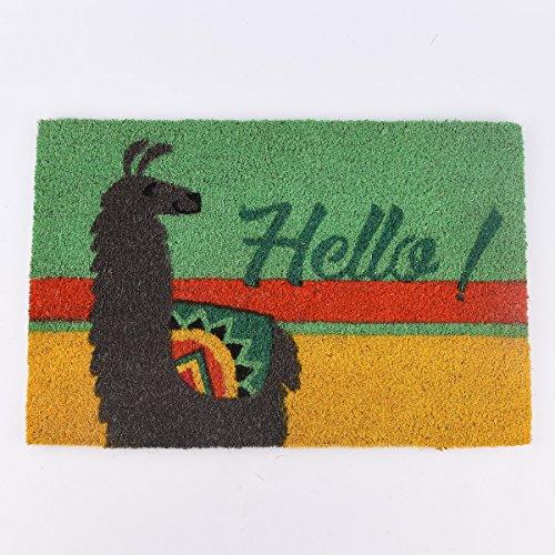 SCHÖNER LEBEN. Fußmatte Kokosmatte Hello Lama grün gelb 40x60cm