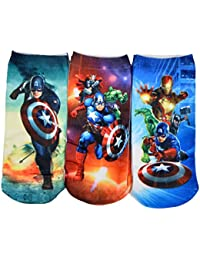 Crux&hunter animated graphics design ankle kids socks pack of 3(capt. America)4-7 years