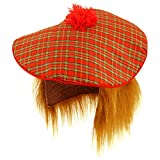 Mens Scottish Scots Tartan Tam Hat & Ginger Hair Wig Stag Night Fancy Dress Hat