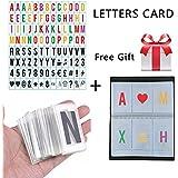 Aoxun Light Box Letters Cinetic LED Acrílico Números y Símbolos Paquete de tarjetas de cuero para caja de luz A4 Tamaño 35 * 65mm (208 color and black)