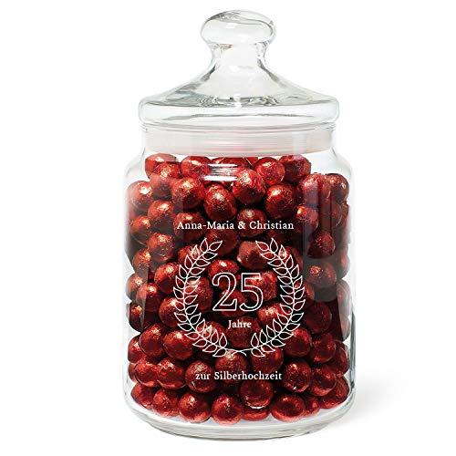 Geschenke.de Personalisierbares Keksglas als Geschenk Silberhochzeit personalisisert, Keksglas Gravur als Geschenkidee mit individuellen Namen verziert zum 25. Hochzeitsjubiläum