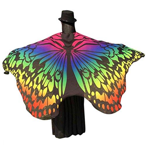 ❤️schmetterling kostüm, KOBAY Frauen Weiches Gewebe Schmetterlingsflügel Schal Fee Damen Nymph Pixie Kostüm Zubehör für Show / Daily / Party (197*125CM, Gelb-3)