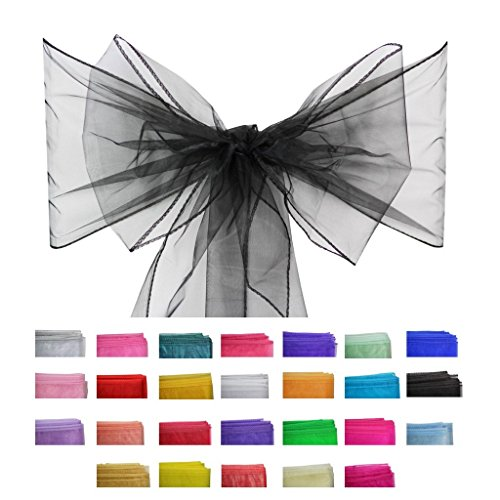 Covering All Occasions 10pcs of Organza Chair Sashes, Fuller Wider Sash, Chair Cover Bows for Wedding Party Events Birthday Décor   26 Colours   Black