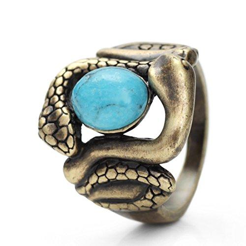 Neoglory Jewellery Ring Bronze natürlicher Türkis blau Schlange 18 (Frau Kostüm Schlange)