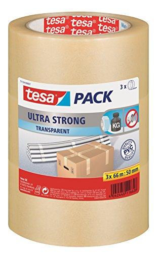 tesa Ultra Strong Packband (aus PVC mit besonders starker Klebekraft, 66 m x 50 mm, 3er Pack) transparent