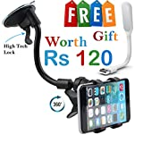 #7: Car mobile holder Combo by Meya Happy™ for car dashboard, windshield with Latest lock based air suction cup system for super strong grip   soft tube arm with 360 degree rotation with 1 Free USB Led Light