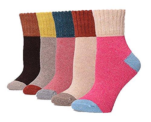 Possec Damen Wolle Pure Thick Winter Casual Warm Crew Socken Pack von 5 (Splice) Casual Acryl-crew Socke