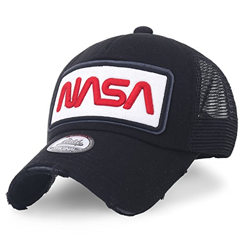 cdab6e51 ililily NASA Worm Logo Embroidery Baseball Cap Mesh Snap Back Trucker Hat  (Medium, Black