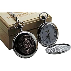 Royal Engineers Pocket Watch Remembrance Day Military British Army Badge Crest Silver with Chain in Luxury Wooden Case