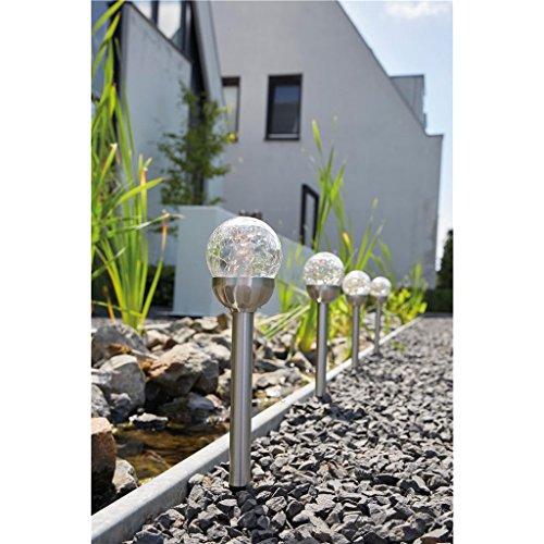 Luxform Bolero Solar-LED-Spikes mit Craquelé-Glas, 5er Pack, Silber