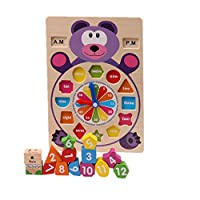 3D Wooden Puzzle Functional Clock Puzzle 12 month+ Baby Brick Toys Buyby (Bear)