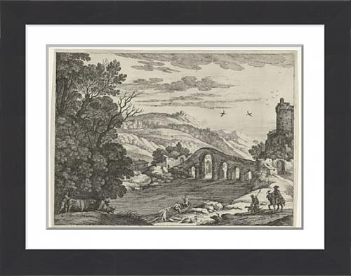 framed-print-of-a-hilly-landscape-is-crossed-by-a-river-over-the-river-a-stone-bridge-with