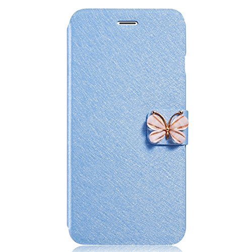 iPhone SE Hülle, iPhone 5S Hülle,SainCat iPhone SE/5S Ledertasche Brieftasche im BookStyle PU Leder Wallet Case Folio Strass Schmetterling Silk Muster Schutzhülle hülle Bumper Handytasche Skin Backcov Blue Lake-Butterfly