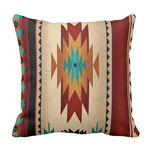 emvency manta funda de almohada tejido Tribal impresión color marrón decorativo funda de almohada Western decoración para el hogar cuadrado 18x 45,72cm Cojín funda de almohada