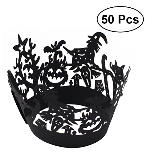 HEALIFTY Liner Baking Cup Muffin Fall Trays Halloween Spitze Cut Cupcake Wrapper Geburtstag Party Decor 50st (Cupcake Halloween Cups)