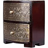 [Sponsored]APKAMART Handicraft Jewelry Box - 6 Inch Height - Wood And Brass Decorative Box Cum Multipurpose Utility Box For Table Decor, Home Decor, Desk Organizing And Gifts