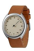 Slow O 07 - Reloj suizo unisex de 24 horas plateado, con correa de cuero marr-n vintage de slow