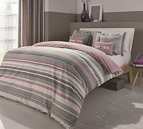 Dreams N Drapes 'Dexter' Crosshatch Heather and Grey Striped Reversible Duvet Cover Set, Double,