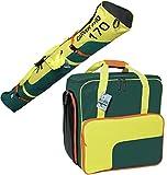 Brubaker Set combinato Carver 2.0–Sci Sacco 170cm e guanti da sci per 1paia di sci + bastoncini + guanti + Casco Petrolio Giallo Arancione