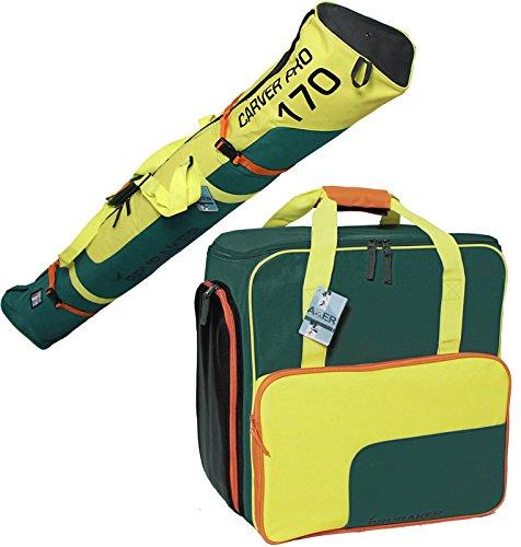 Brubaker Kombi Set Carver 2.0 - Skisack 170 cm und Skischuhtasche für 1 Paar Ski + Stöcke + Schuhe + Helm Petrol Gelb Orange