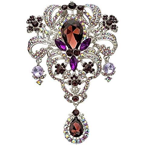 EVER FAITH®cristallo austriaco 5.1 pollici Bouquet di fiori strappo delle donne goccia viola spilla AB Silver-Tone