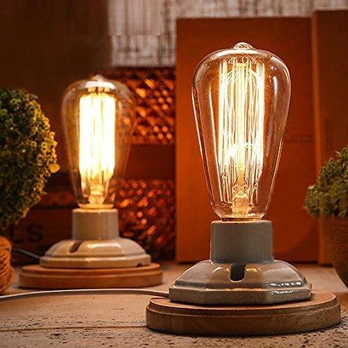FSLiving Illuminazione industriale Vintage Edison di legno bianca Ceramica della base dello zoccolo E27 Tabella dello scrittorio di luce della lampada decorazione della casa (lampadina non è incluso)