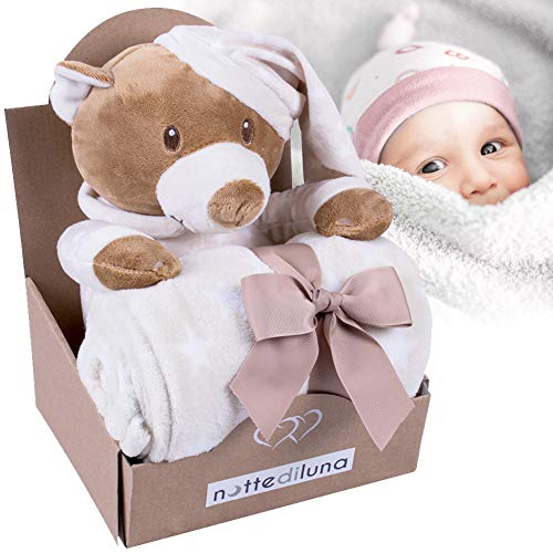 Bakaji plaid copertina neonato con peluche orsacchiotto coperta di sicurezza in tessuto peluche pile dimensione copertino 100 x 75 cm (beige)