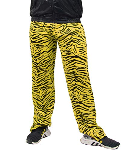 Zebra 2 Kostüm Mann - Foxxeo Jogginghose 80er Jahre Kostüm Trainingsanzug Assianzug Retro schwarz gelb S - XXXL, Größe:L/XL