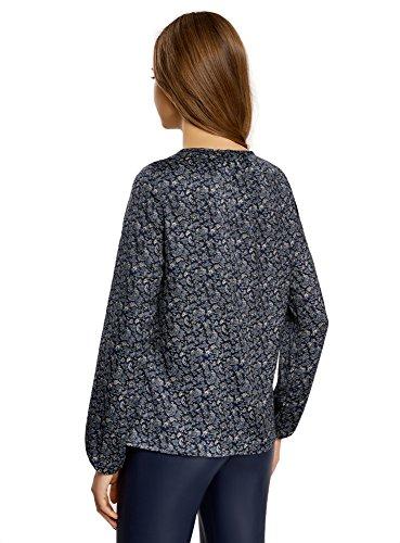 oodji Collection Damen Lässige Bluse mit Tropf-Ausschnitt Blau (7975E)