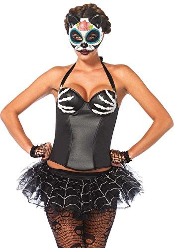 LEG AVENUE 2651 - Wet Look Bügel Halter Korsett, Größe L, schwarz, Damen Karneval Kostüm Fasching - Leg Avenue Damen Korsett
