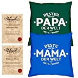 Soreso Design Vatertagsgeschenk Muttertagsgeschenk -:- 2 Kissen komplett Füllungen plus 2 Urkunden im Set -:- Beste Mama der Welt in royal-blau - Bester Papa der Welt in dunkelgrün