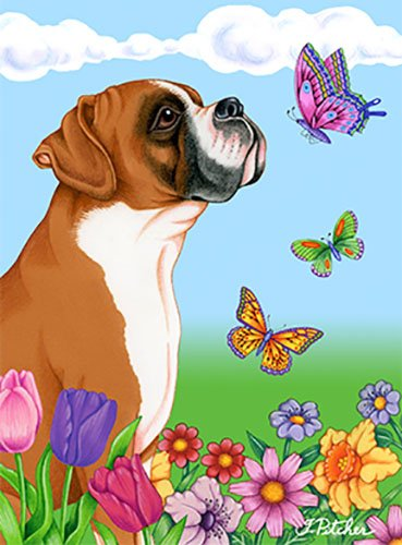 Boxer Fawn uncropped-Best of Breed Butterfly Garden Flagge - Boxer Garden Flag