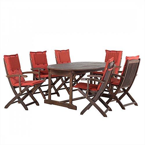 Gartenmöbel - Balkonmöbel - Holzmöbel - Tisch + 6 Sessel + 6 Terracotta Auflagen – MAUI