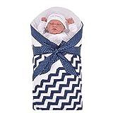 Sevira Kids Baby Mädchen Schlafsack Blau ZigZag 0-3/4 Monate, 80 x 80 cm