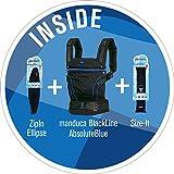 manduca Blackline Premium Bundle  Absolute Blue  optimizada 3P de seguridad hebilla–de 0a del paquete incl. sizeit (Reductor de Puente) & zipin Ellipse (para recién nacidos), Negro–Azul