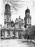 Einfarbige original Radierung Passau, Dom von Herzog als loses Blatt, Graphik, kein Kunstdruck, kein Leinwandbild
